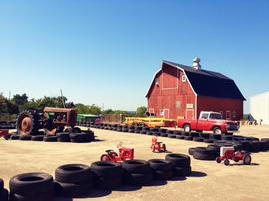 barn and tractor track